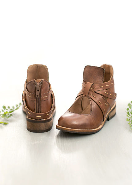 Oralie Leather Ankle Boot in Brown