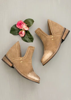 Oralie Leather Ankle Boot in Metallic