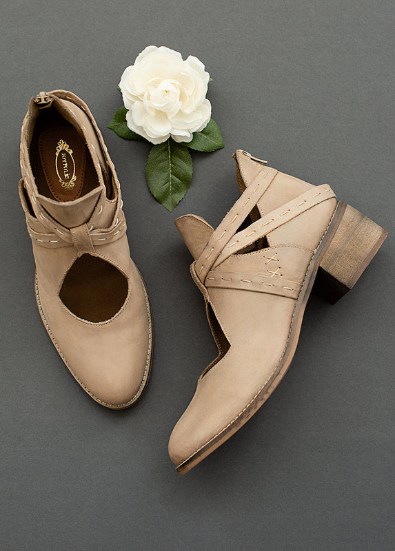Oriana Leather Ankle Booties in Bone
