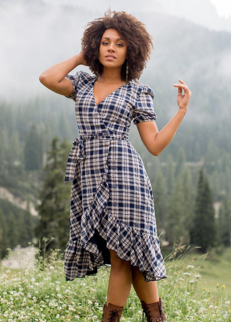 Pippa Dress in Navy Plaid
