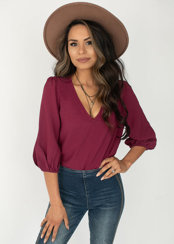 Jemila Top in Burgundy