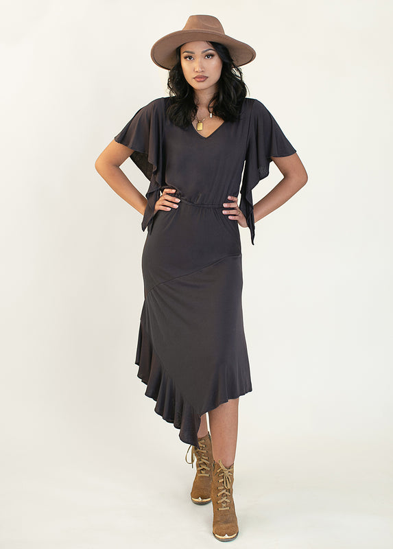 Ricarda Dress in Washed Black