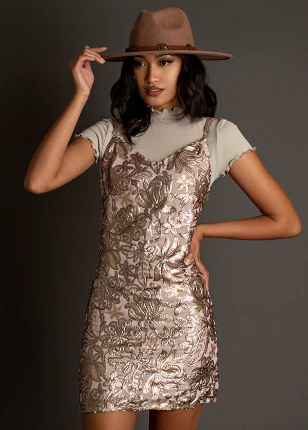 Vesper Slip Dress in Rosegold