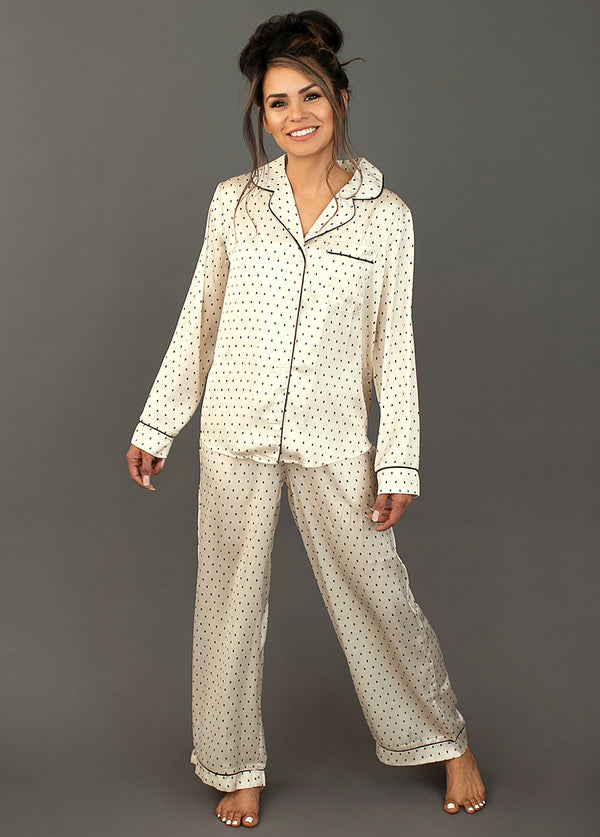 Shaniah Pajamas in Ivory Dot