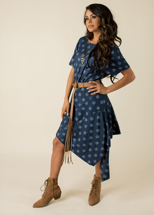 Shiloh Dress in Navy Geo