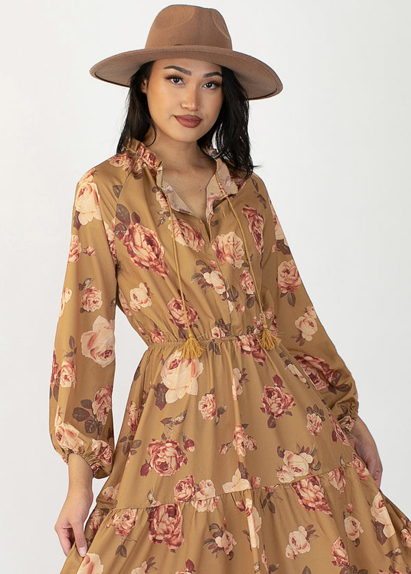 Shlee Dress in Ochre Floral