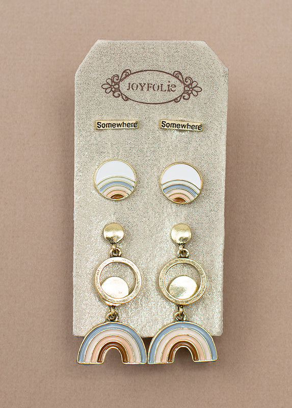 Somewhere Stud Set in Antique Brass