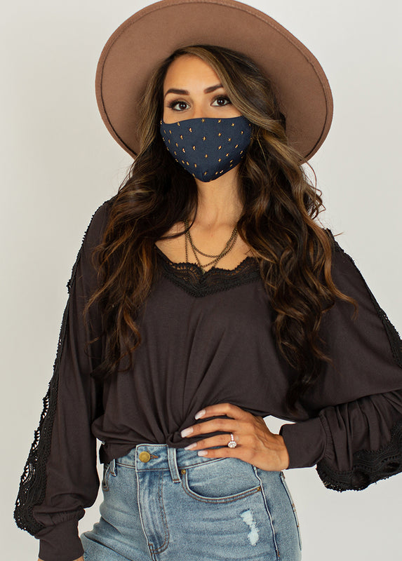 Women's Star Studded Mask in Deep Navy