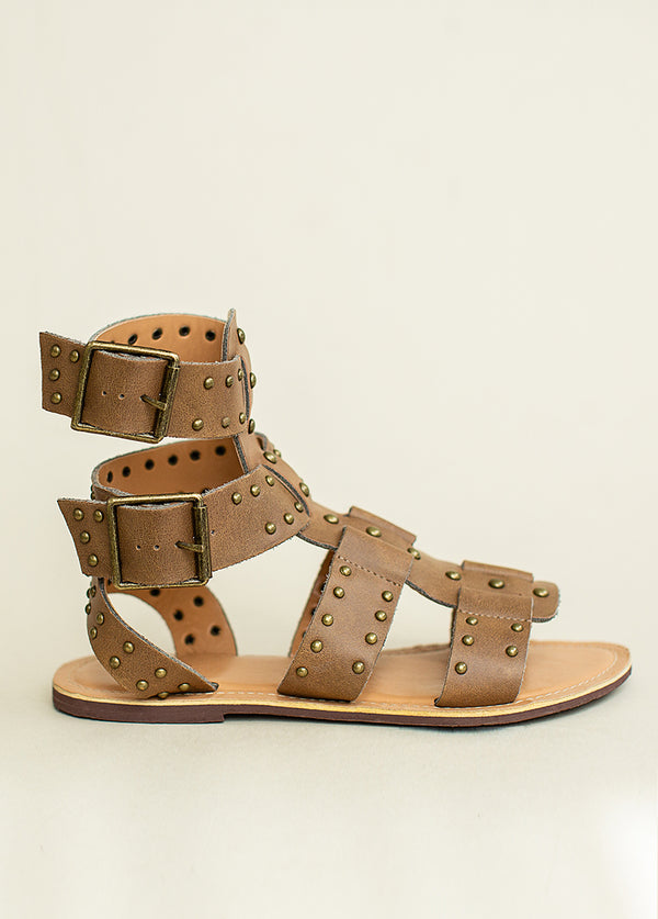 *NEW* Ynez Leather Studded Gladiator in Brown