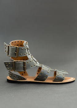 *NEW* Ynez Leather Studded Gladiator in Charcoal