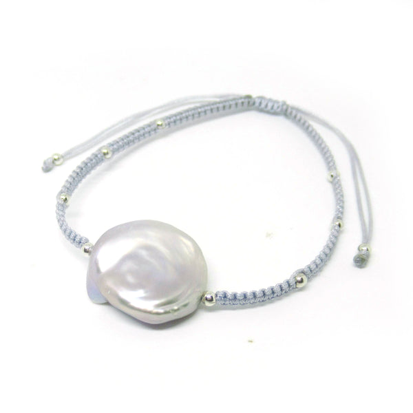 Grey Freshwater Pearl Friendship Bracelet