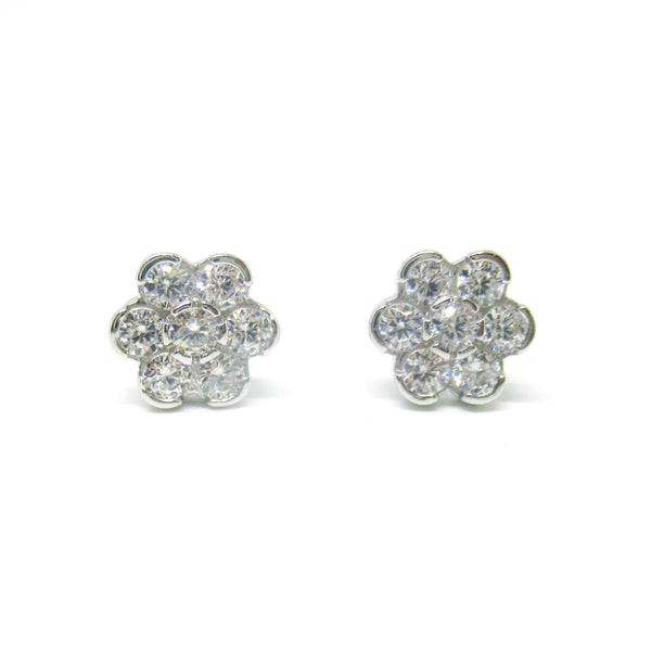 Sterling Silver CZ Flower Cluster Studs