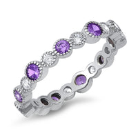Sterling Silver Amethyst & Clear CZ Eternity Ring