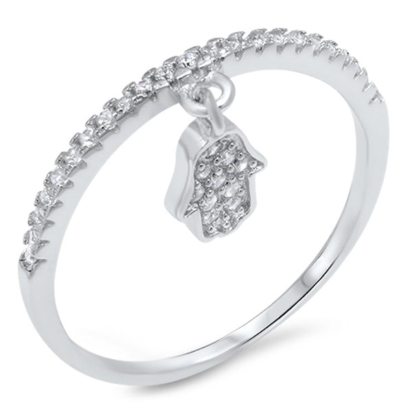 Sterling silver & CZ Hamsa Dangle Ring