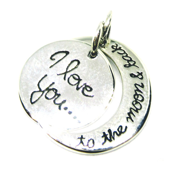 "925 Sterling Silver ""I Love You To The Moon And Back"" Token Double Pendant"