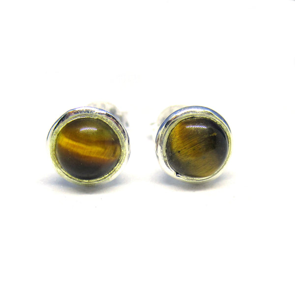 Sterling Silver & Tiger's Eye Brown Earrings
