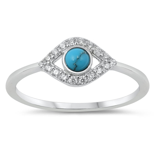 Sterling Silver, Turquoise & Cubic Zirconia Evil Eye Ring