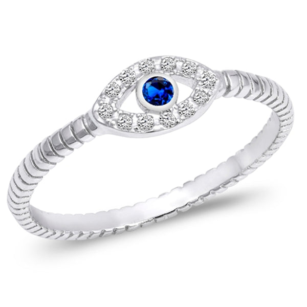 Sterling Silver & Cubic Zirconia Evil Eye Stacking Ring