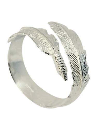 Boho Style 925 Sterling Silver Angel Feather Ring Adjustable from L (6) to R (9)