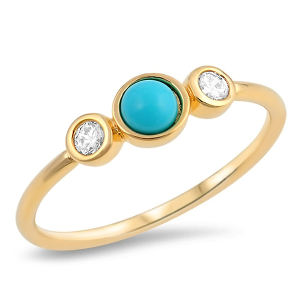 Turquoise & Cubic Zirconia Yellow Gold Plated Trilogy Ring