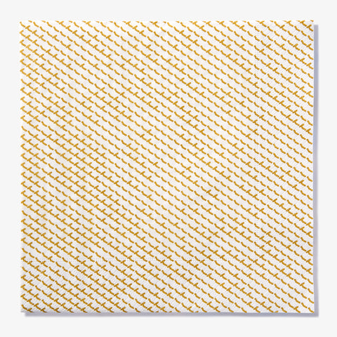 White dinner napkin with gold abstract pattern