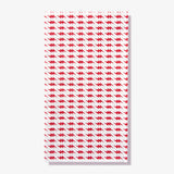 White guest towel napkin with red lightning bolt pattern