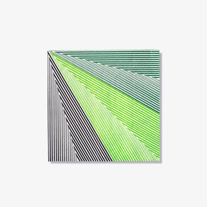 Green, black and white cocktail napkin with striped pattern