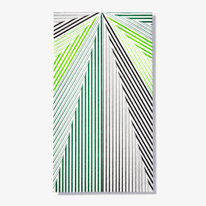 Green, black and white guest towel napkin with striped pattern