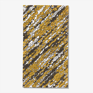 Gold, black and white guest towel napkin with abstract pattern