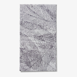 Gray and purple guest towel napkin with abstract pattern