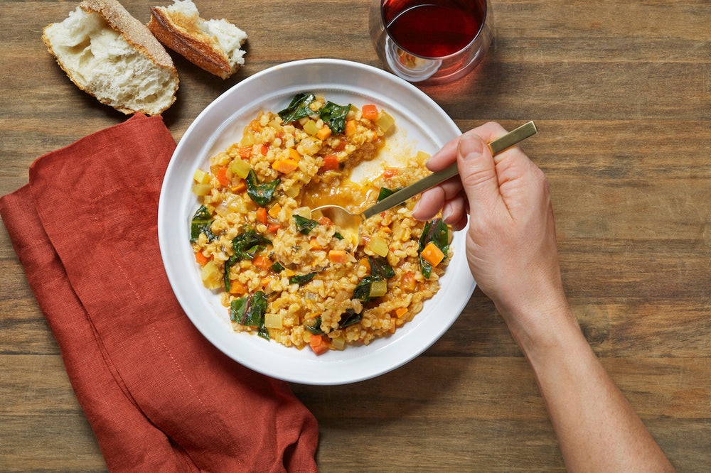 Vegetable barley risotto