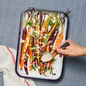 Roasted Rainbow Carrots with Miso Lemon & Hot Honey