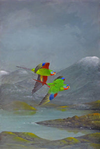 Swift Parrots original painting Peter slater World Parrot Trust