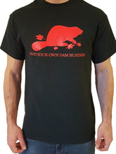 Short Sleeve Mind Your Own Dam Business T-Shirt - Black & Maple Leaf Red