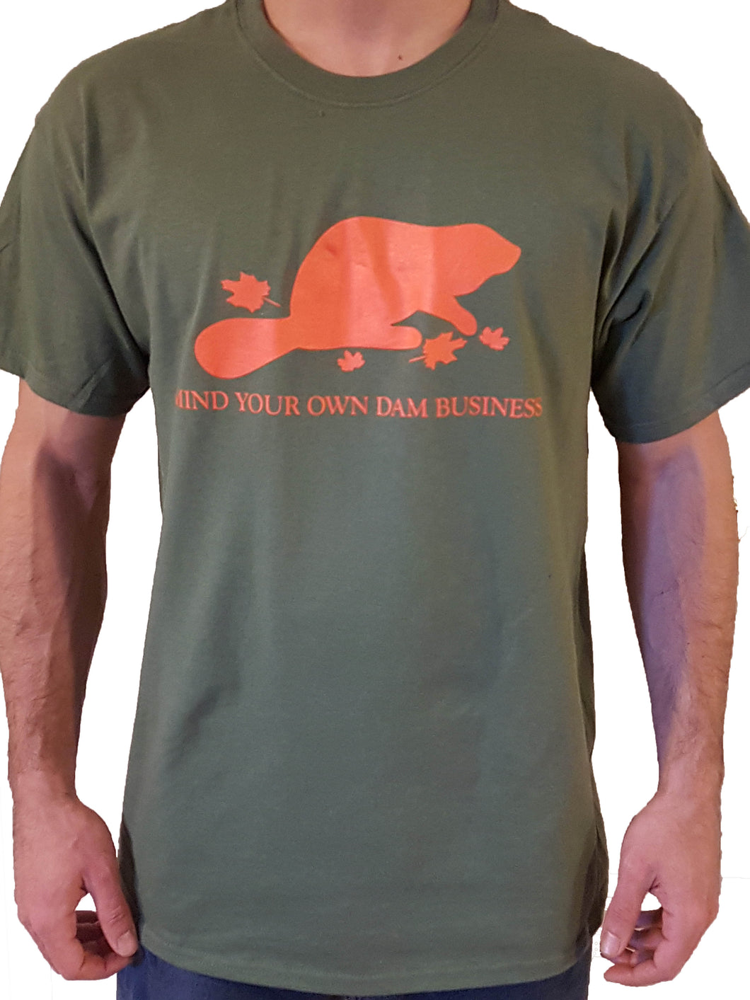 Short Sleeve Mind Your Own Dam Business T-Shirt - Olive Drab & Blaze Orange