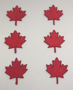 Six Pack Red Canadian Maple Leaf Set Patches