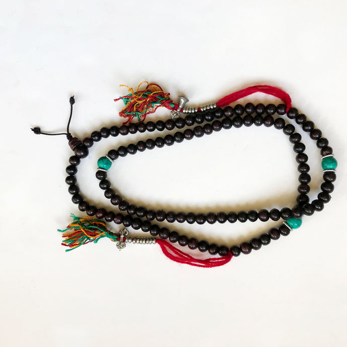 Rosewood Mala w/ turquoise beads and counter