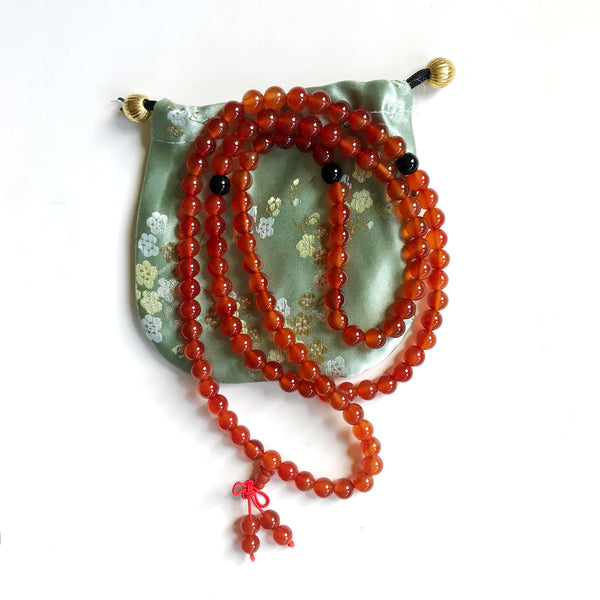 Mala Orange Red with black bead