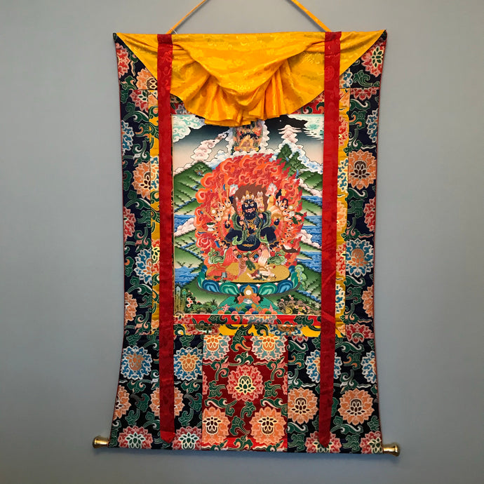 Hand-painted Vajra Vega Thangka (Wrathful Kalachakra)