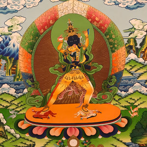 Hand-painted Innate Kalachakra Thangka