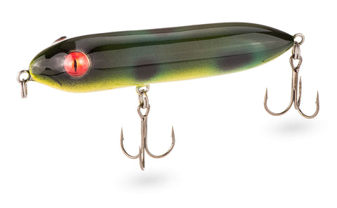 This topwater lure is in frog color. You can walk the dog with hard plastic lure from Gill Reaper Lures.