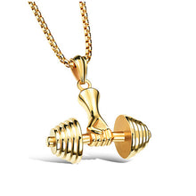 Mens Jewellery Dumbbell Necklace Stainless Steel Necklaces Colar