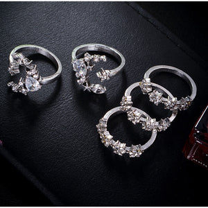 New Rings for Women Tiny Crystal Moon Finger 5pcs