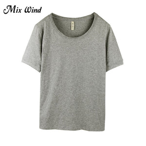 Wind  Loose O-Neck Short Sleeve White T-shirt For Summer