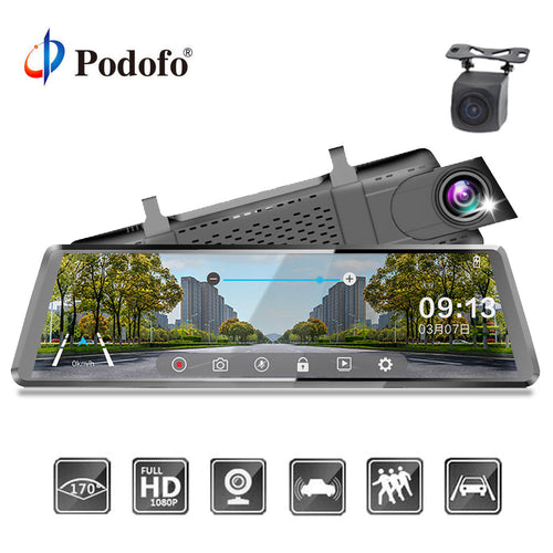 *LIMITED* Car Dvr Stream RearView Mirror Dual Lens dashcam Registrator 10''