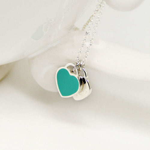 Fashion Blue Pink Two Heart Pendant Necklaces
