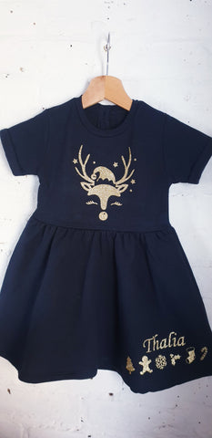 Sleepy reindeer xmas dress