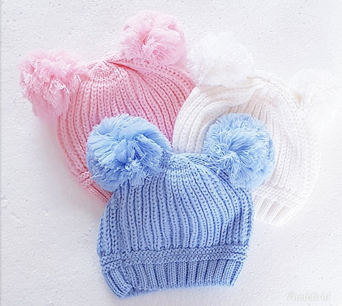 Double pom knit hat