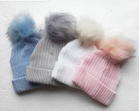 Fluffy single pom hats