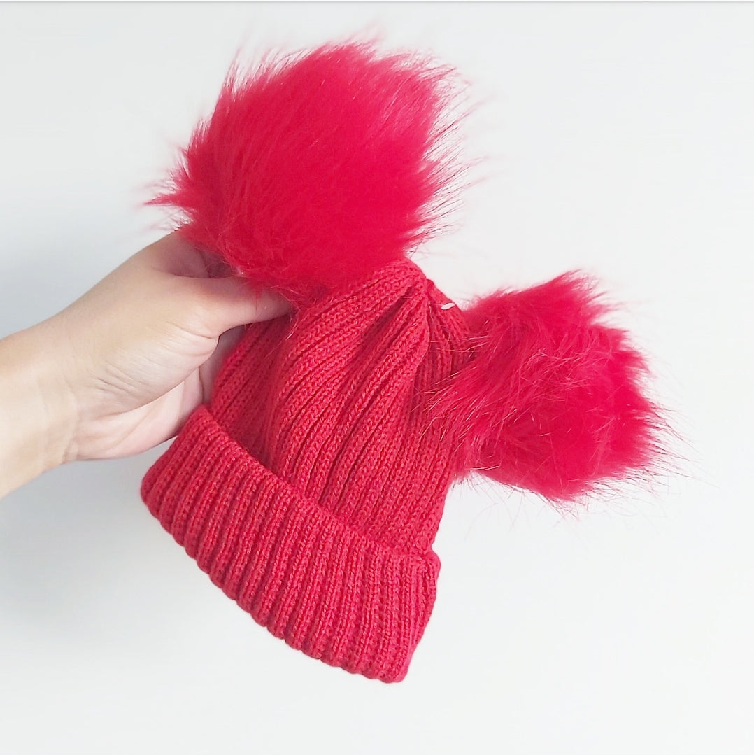 Red double pom hat